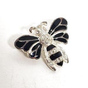 Vintage Black & Silver Honey Bee Ladies Jewel Pin